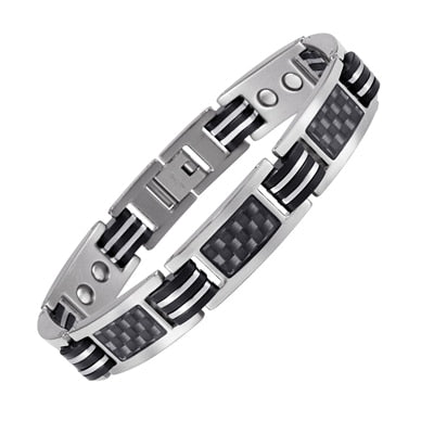 Titanium Energy Bracelet With Black Carbon Fiber Magnetic - GiftWorldStyle - Luxury Jewelry and Accessories
