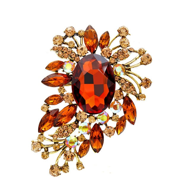 Multi Color Crystal Flower Large Brooches