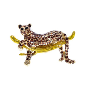 Enamel Vivid Laying On Branch Leopard Brooch Pin