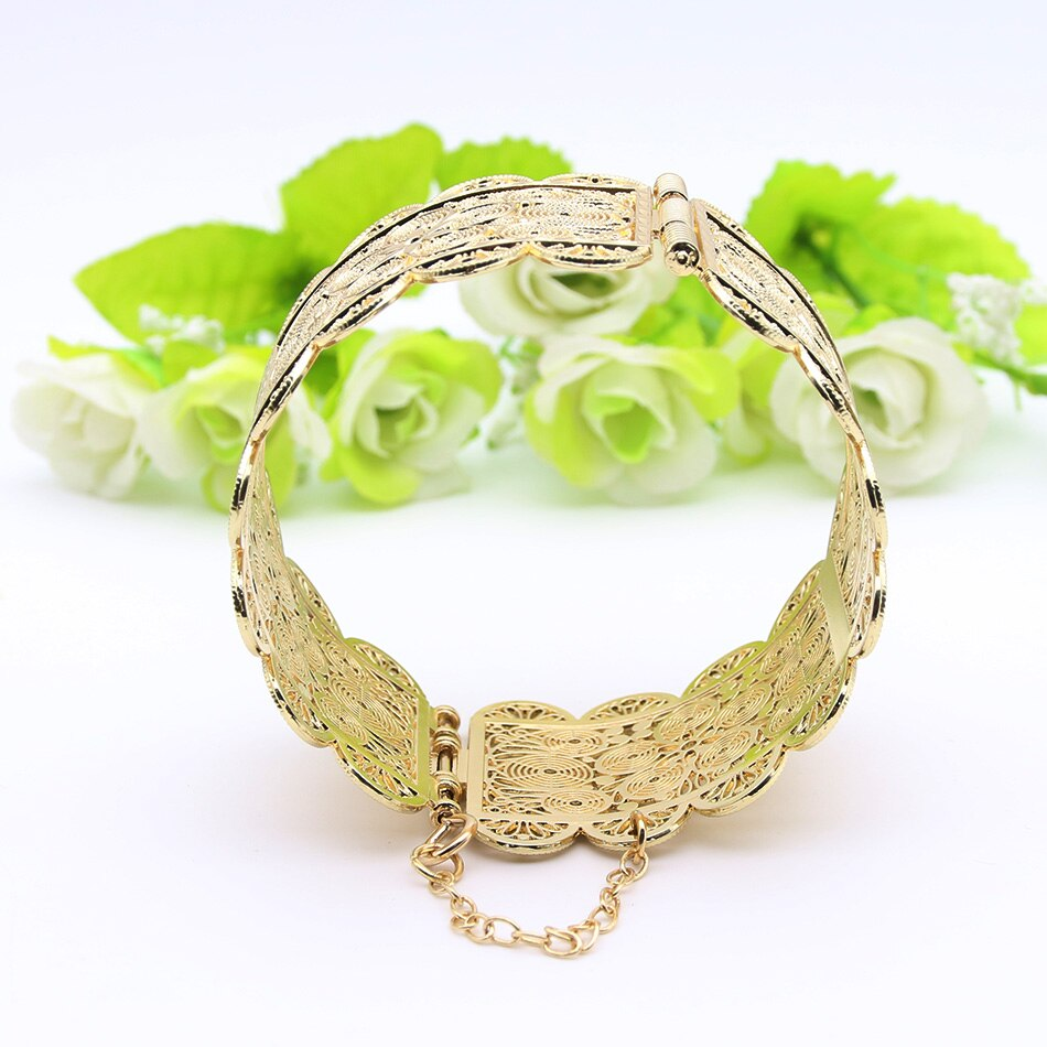 Indian Cuff Bangle Bracelet - Hollow Flower