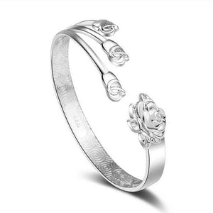 Three Rose Flower Cuff Bracelet Bangle - 925 Sterling Silver