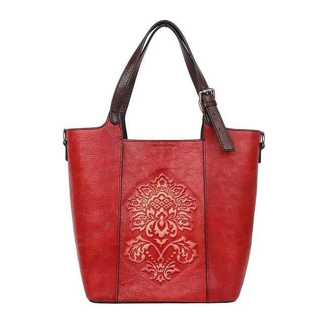 Vintage Bucket Bag With Embossing And Long Handle - GiftWorldStyle - Luxury Jewelry and Accessories