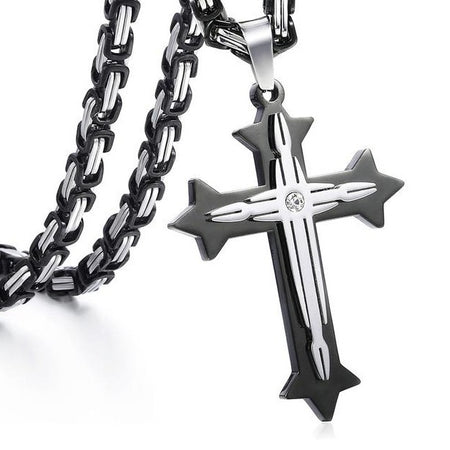 Men's Cross Pendant Chain Necklace
