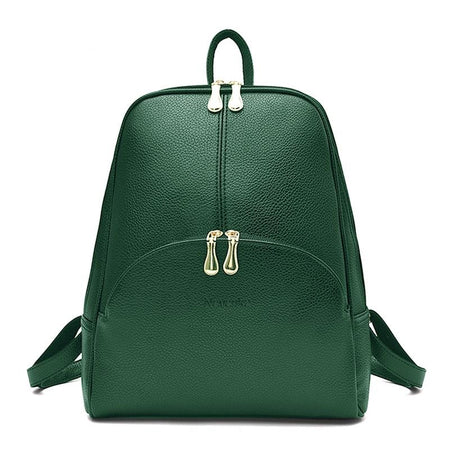 Women's Solid Fashion Leather Backpack