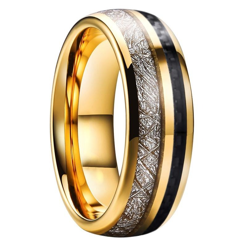 Unisex Three-Tone Tungsten Carbide Ring