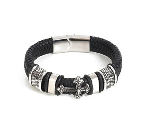 Leather Man Cross Bracelet With Magnetic Clasp And Cross