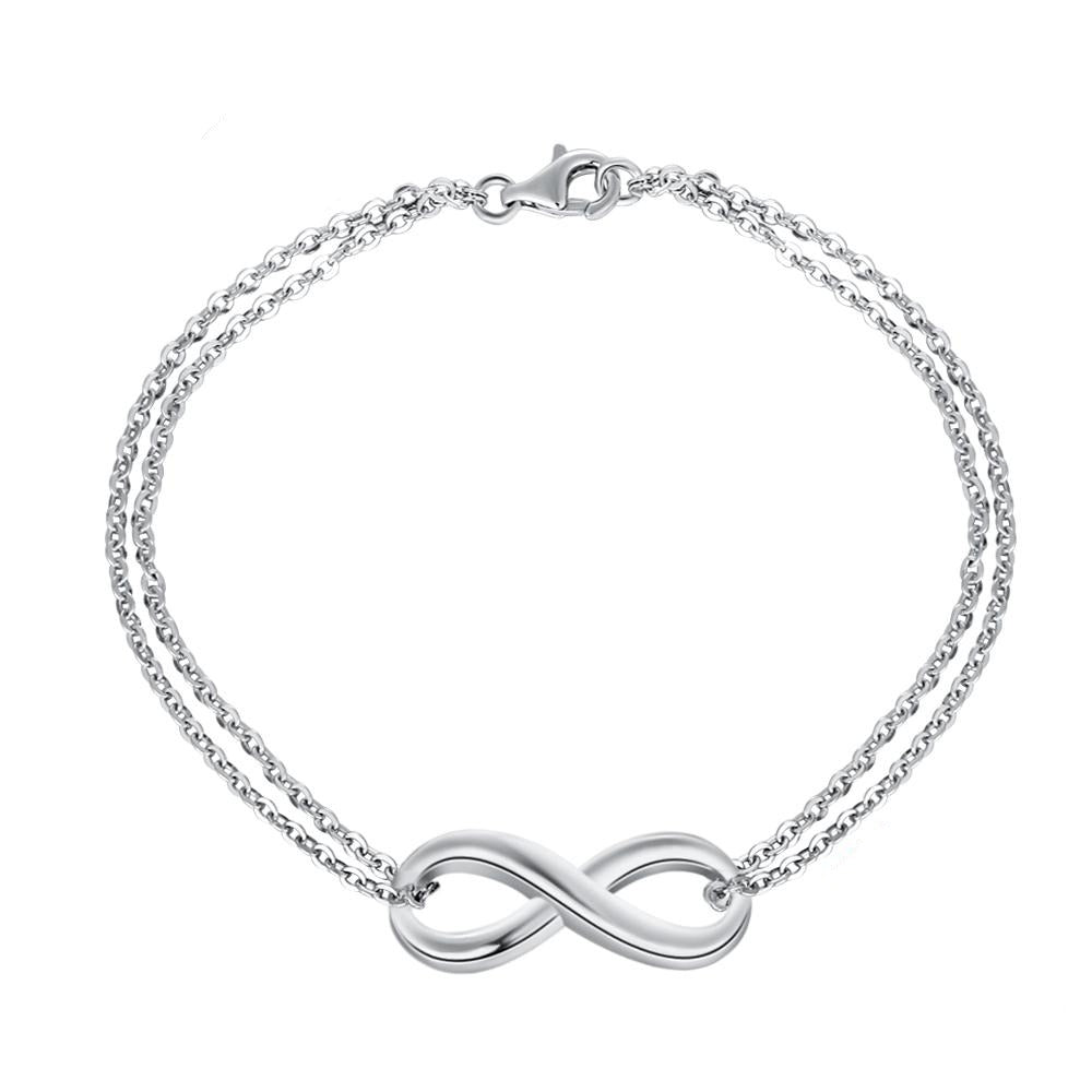 Infinity Bracelet With Double Chain - 925 Sterling Silver