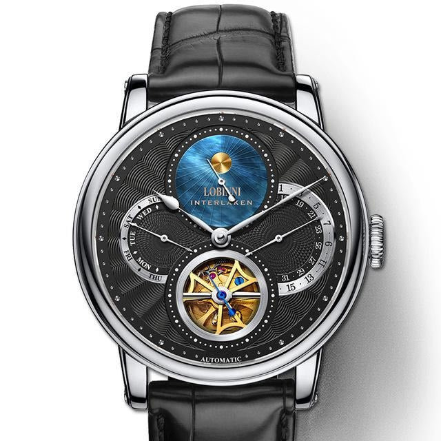 Switzerland Mechanical Leather Wrist Man Watch - Multiple Time Zone