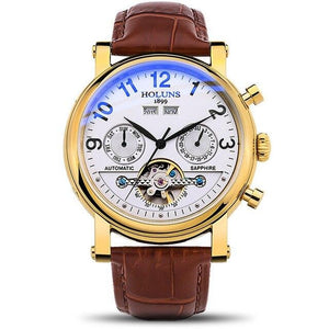 Men's Mechanical Watch With Leather Strap, Automatic Self-Wind - GiftWorldStyle - Luxury Jewelry and Accessories