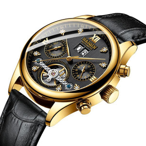 Automatic Mechanical Men's Watch Business Dress Watch Men Leather Waterproof Male Wristwatch