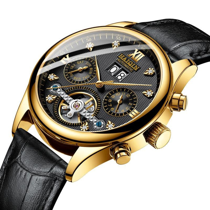 Automatic Mechanical Wrist Watch With Leather Strap - Waterproof ,Chronograph