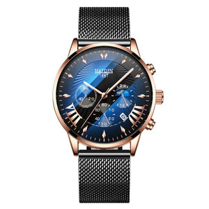 Quartz Men Watch Watches Men's Black Mesh Belt Sport Wristwatch Male Hombres