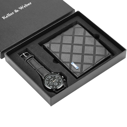 Men's Textured Leather Wallet and Watch Set