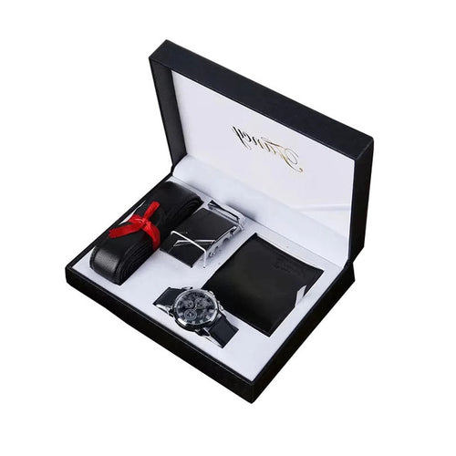 Men's Luxury Watch, Leather Wallet and Belt Set