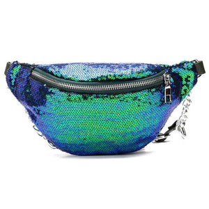 Women's Waist Bag With Shiny Sequins, Chain - GiftWorldStyle - Luxury Jewelry and Accessories