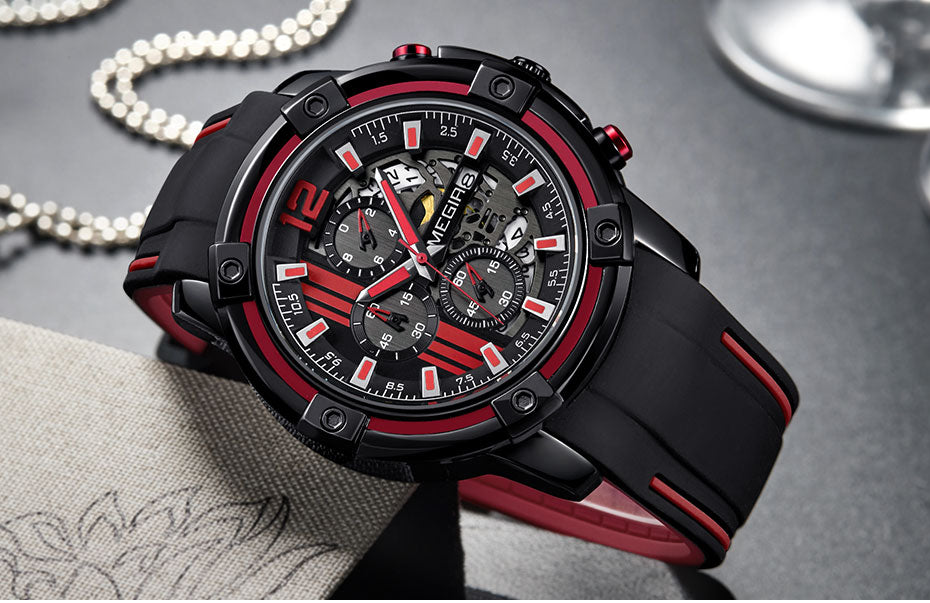 Men's Quartz Watch With Silicone Strap - Water Resistant - GiftWorldStyle - Luxury Jewelry and Accessories