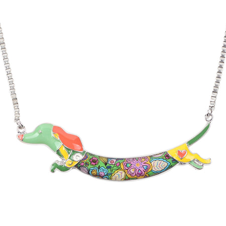 Metal Alloy Enamel Animal Pets Dachshund Dog Choker Necklace Chain Collar Pendant