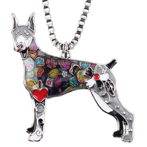 Doberman Necklace With Chain Collar With Flower