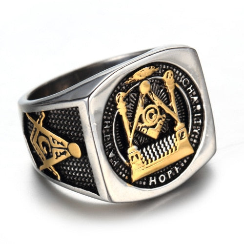 Stainless Steel Titanium Ring With Retro G Masonic Symbol - GiftWorldStyle - Luxury Jewelry and Accessories