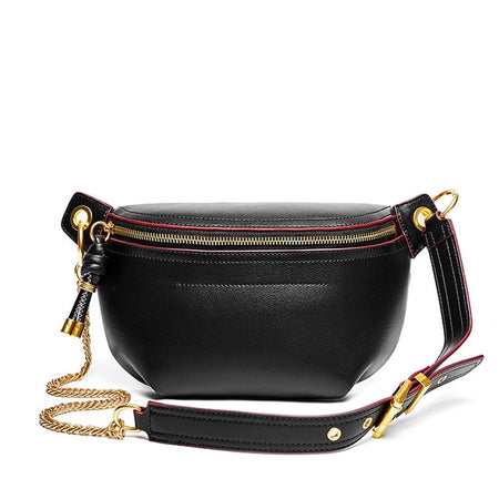 Genuine Leather Women Waist Bag With Chain Belt - GiftWorldStyle - Luxury Jewelry and Accessories