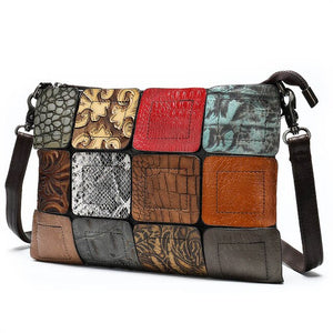 Small Patchwork Women Bag With Animal Skin