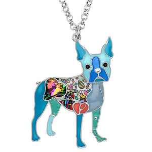 Terrier Crystal Rhinestone Necklace With Silver Chain