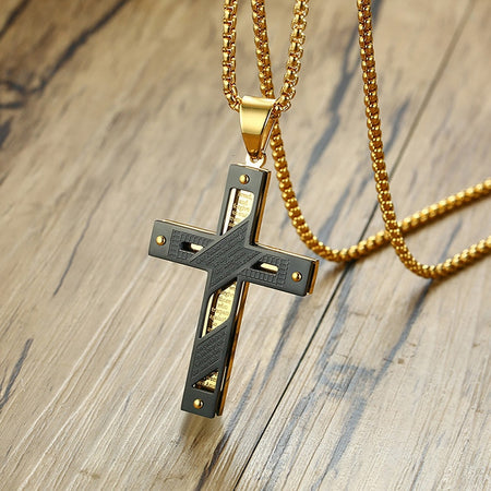 Men's Two-Tone Cut Out Cross Pendant Necklace