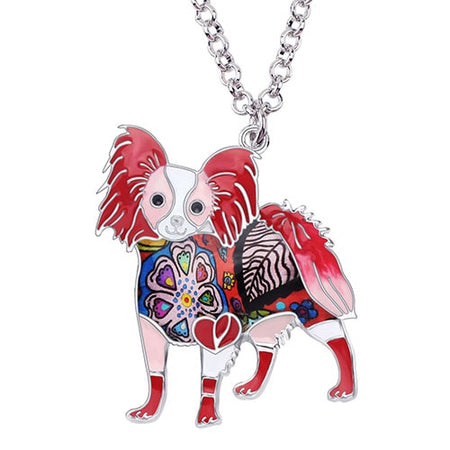 Enamel Alloy Standing Papillon Dog Necklace Pendant Chain Choker Collars Fashion Animal