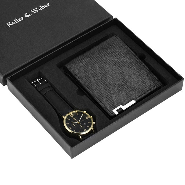 Men's Leather Strap Watch and Geometric Leather Wallet Set - GiftWorldStyle - Luxury Jewelry and Accessories