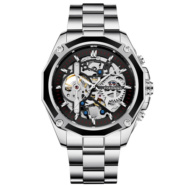 Automatic Skeleton Mechanical Watch - Stainless Steel - GiftWorldStyle - Luxury Jewelry and Accessories