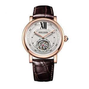 Automatic Tourbillon Watch With Genuine Leather Strap, Luminous Hands - GiftWorldStyle - Luxury Jewelry and Accessories