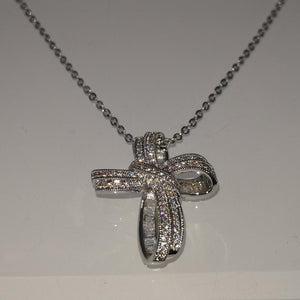 Bowknot Zircon Christmas Cross Necklace - GiftWorldStyle - Luxury Jewelry and Accessories