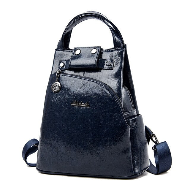 Women's Backpack With Interior Zipper Pocket From Crumpled Shiny Leather - GiftWorldStyle - Luxury Jewelry and Accessories