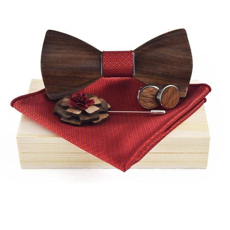 Men's Wooden Bow Tie, Cufflinks, Pin and Pocket Square Set