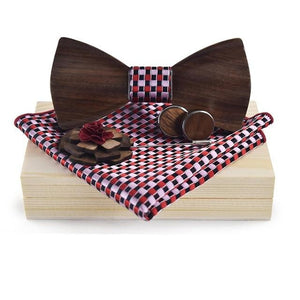 Men's Wooden Bow Tie, Cufflinks, Pin and Pocket Square Set - GiftWorldStyle - Luxury Jewelry and Accessories