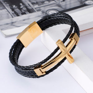 Retro Cross Leather Bracelet - GiftWorldStyle - Luxury Jewelry and Accessories