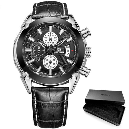 Quartz Watch For Men With Waterproof Strap , Chronograph And  Large Dial - GiftWorldStyle - Luxury Jewelry and Accessories