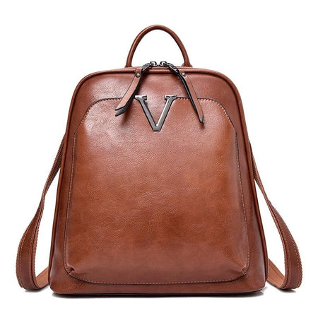 Women's Vintage Glossy Leather Backpack
