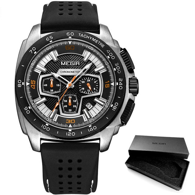 Men's Chronograph Sport Watches with Quartz Movement Band - GiftWorldStyle - Luxury Jewelry and Accessories