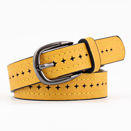 Vintage Hollow Belt With Luxury Pin - Genuine Leather