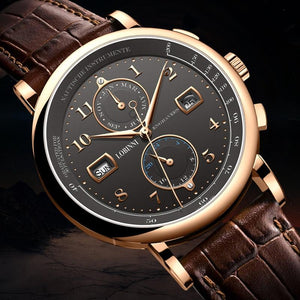 Automatic Genuine Leather Wristwatch - Compass, Week Display - GiftWorldStyle - Luxury Jewelry and Accessories