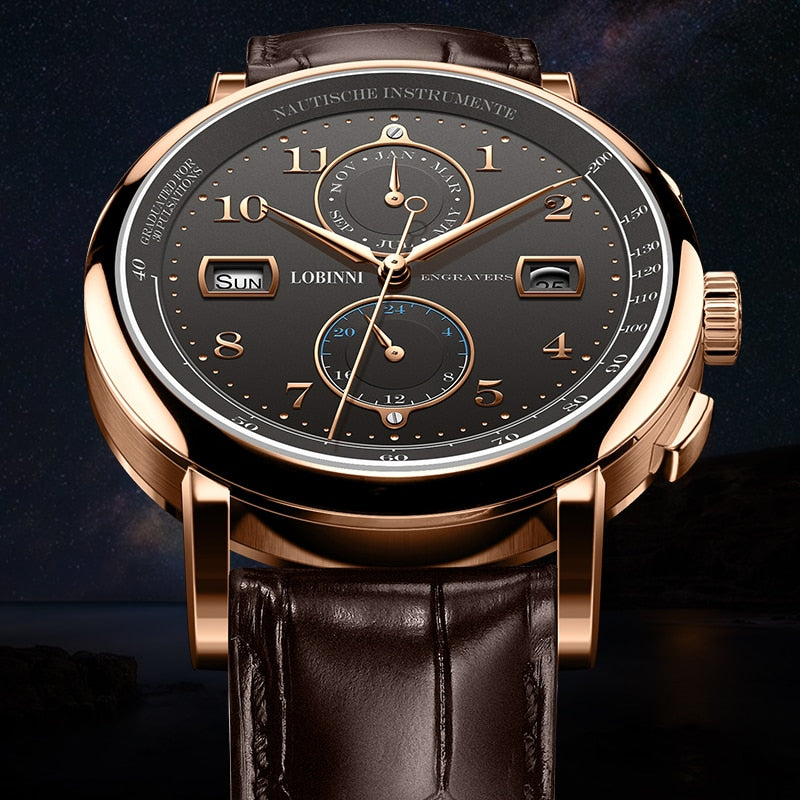 Waterproof Mechanical Watch With Mechanical Leather - Complete Calendar - GiftWorldStyle - Luxury Jewelry and Accessories