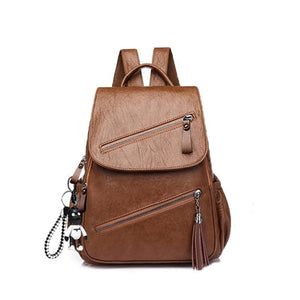 Women's Retro Tassel Leather Backpack