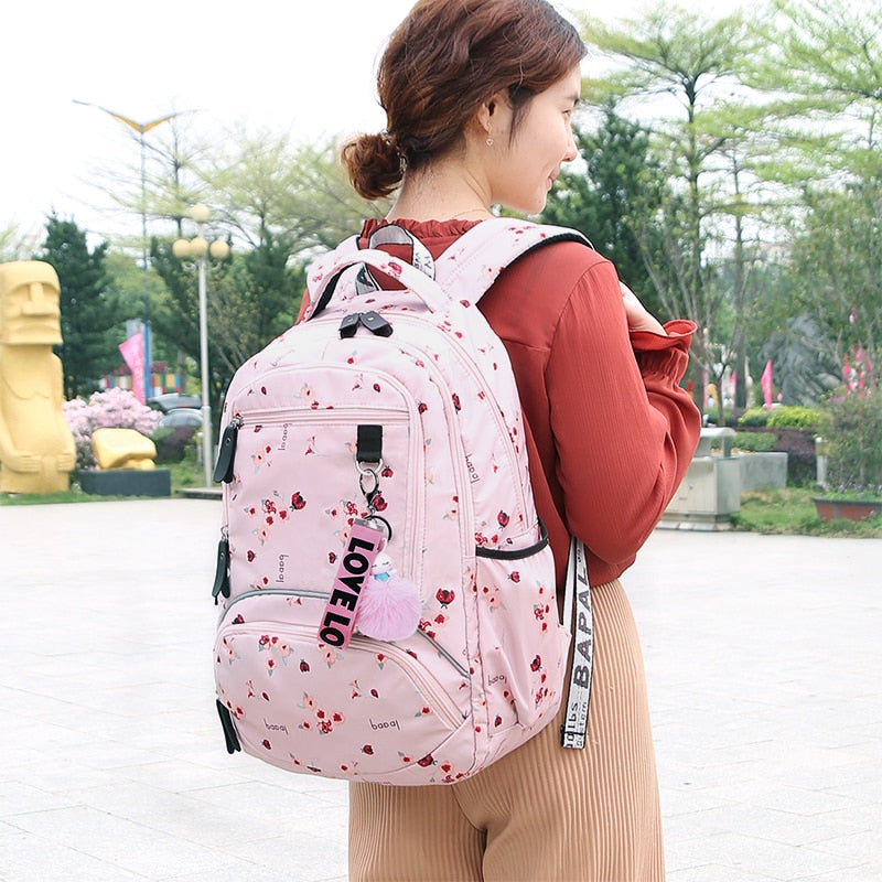 Waterproof Large School Bag With Flower Printed - GiftWorldStyle - Luxury Jewelry and Accessories