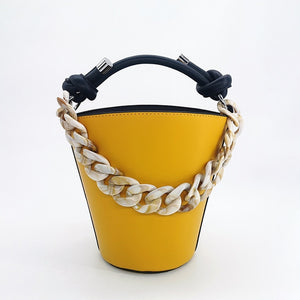 Leopard Print Bucket Handbag And Massive Chain Handle