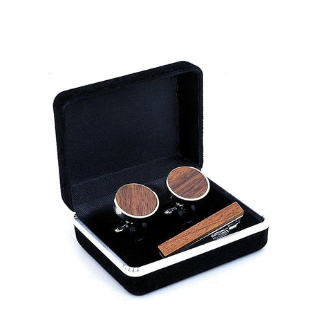 Men's Wooden Cufflinks and Tie Clip Set