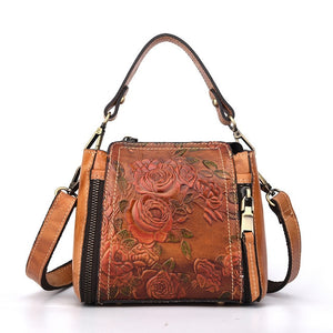 Natural Skin Cross Body Handbag With Outer Pocket And Flowers
