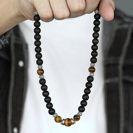 Adjustable Matte Tiger Eye Necklace With Lobster Clasp