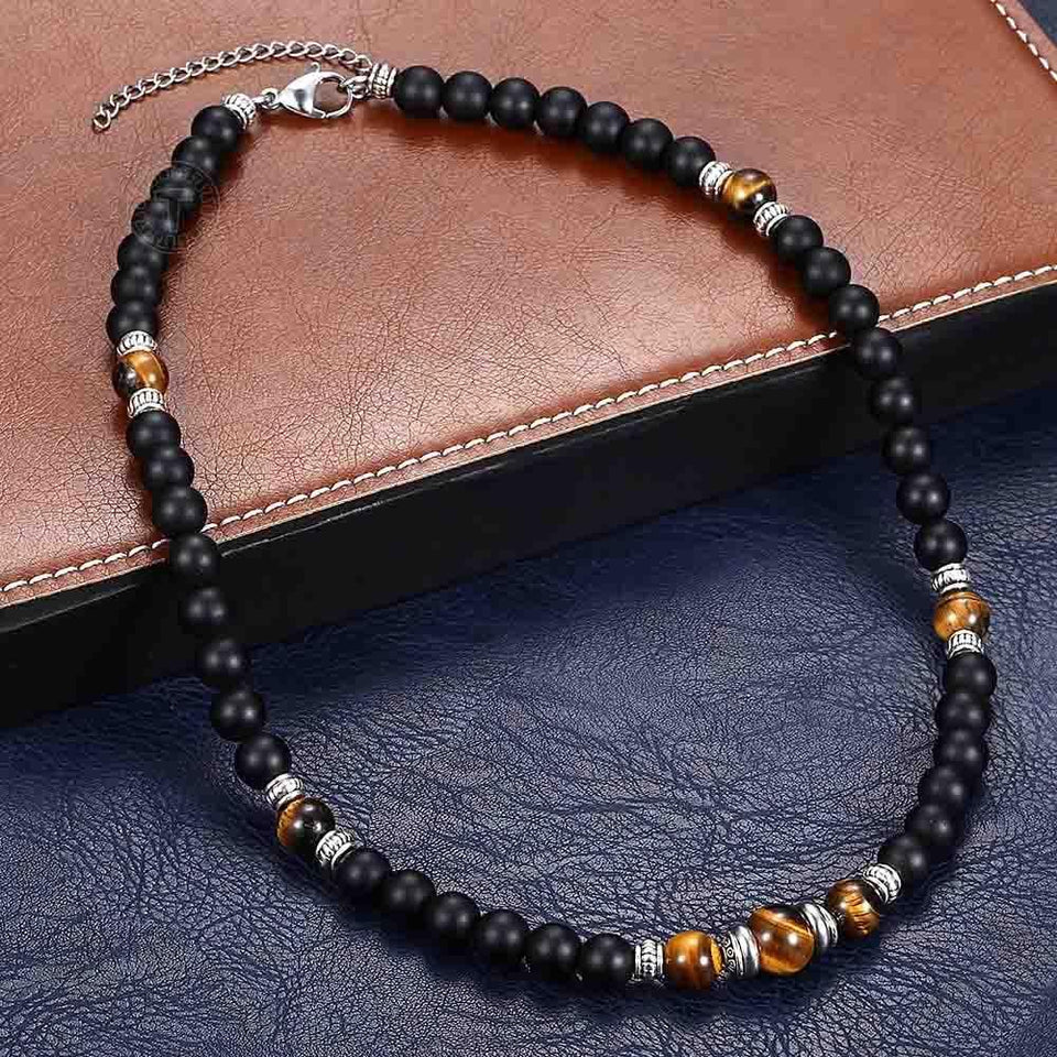 Adjustable Matte Tiger Eye Necklace With Lobster Clasp - GiftWorldStyle - Luxury Jewelry and Accessories