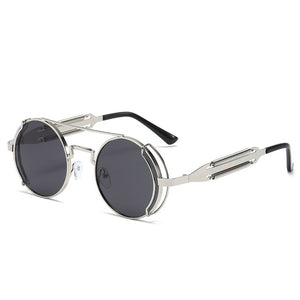 Gothic Round Steampunk Sunglasses With Metal Frame,Anti-Reflective - GiftWorldStyle - Luxury Jewelry and Accessories